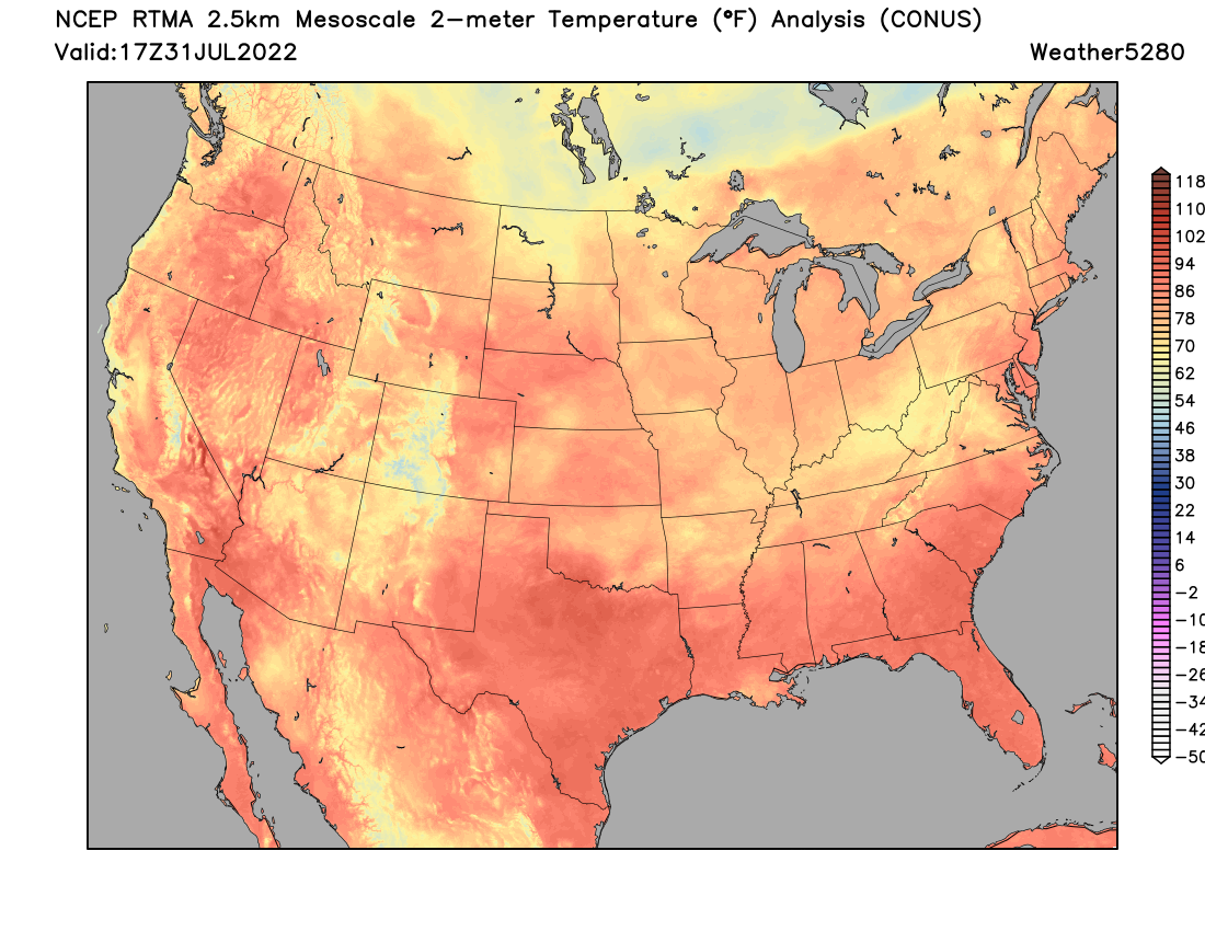 U.S. Current Temperature Map