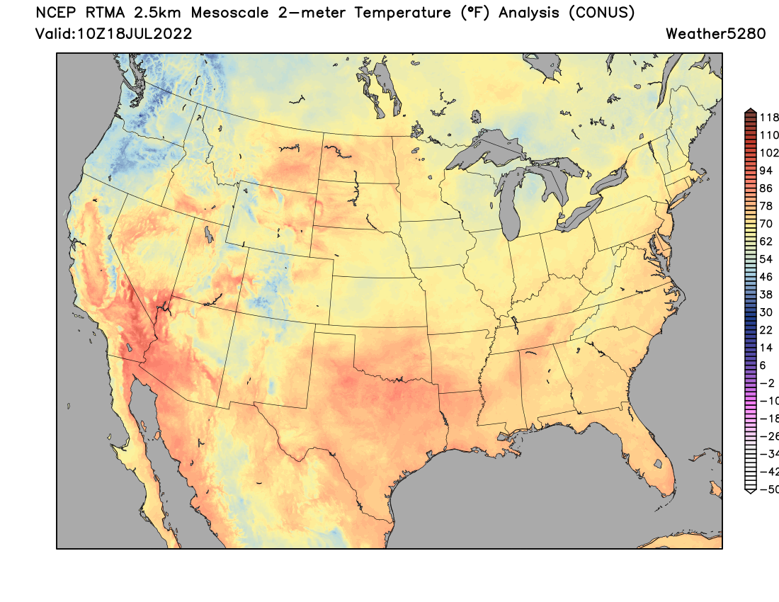 Us Map With Current Temperatures Extreme Heat Continues To Plague - Us average winter temperature map
